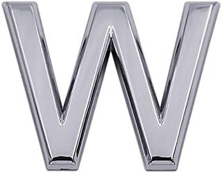 3D金属ステッカー パーソナライズされた文字DIY車体金属ペースト組成物3D立体デジタル車のステッカー貼付手紙 (Color : W, Size : 35MM)