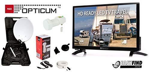 Red Opticum Travel TV 20 Zoll Camping komplett Set mit Opticum Camping Koffer und 12V TV 20 Zoll Trippel Tuner- DVB-S2, DVB-T2, DVB-C/ 12-24V Auto Adapter Kabel/perfekt für den Camping Urlaub