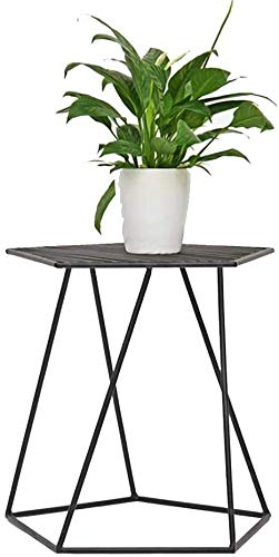 WYL Balcony Side Table Iron Art Unique Hollow Design Coffee Table Bedroom Bedside Table Living Room Sofa Green Plant Storage (Color : Black)