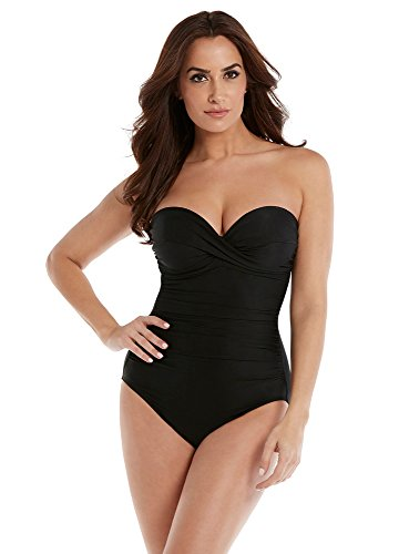 Miraclesuit Women's Rock Solid Madrid Bandeau Style One Piece Swimsuit with Detachable Straps and Underwire Molded Cup Bra, Black, 12