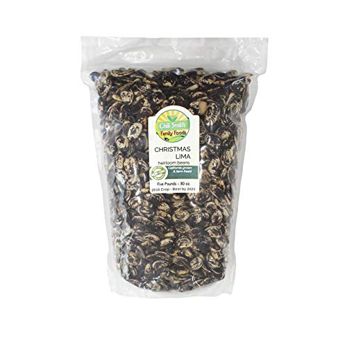 Christmas Lima Heirloom Beans All Natural Non GMO 5 Pounds 100% Pesticide and Herbicide Free Also Called Popes Beans Chestnut Beans or Calico Beans