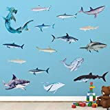 18 Pieces Sharks Peel Shark Wall Decals Removable Wall Stickers Animal Shark Decal Stickers Sea Theme Wall Decor Sticker for Room Bathroom Nursery Home Decor