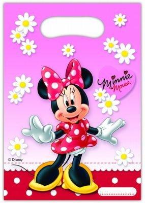 240083 Lot de 6 sacs en papier pour fête d'anniversaire pour enfant Motifs Minnie Mouse