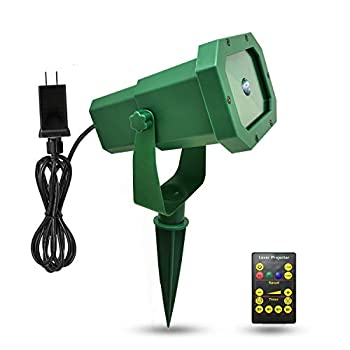 Premium Christmas Outdoor Waterproof Laser Projector Light- Moving RGB 20 Patterns- with RF Remote Control and Timer Perfect for Lawn Party Garden Decoration- Green