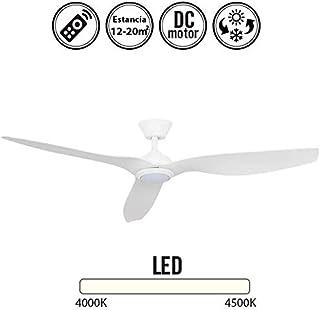 Ventilador de techo con luz Led DELFOS blanco