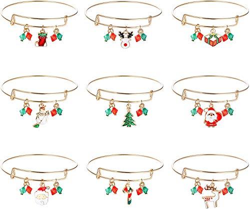 Adramata 9 Pcs Bracelets à Breloques de Noël pour Femmes Extensible Noël Chaussettes Béquille Bonhomme de Neige Noël,Cerf,Père Noël Bracelets Jonc Ajustables Ensemble de Bijoux de Vacances