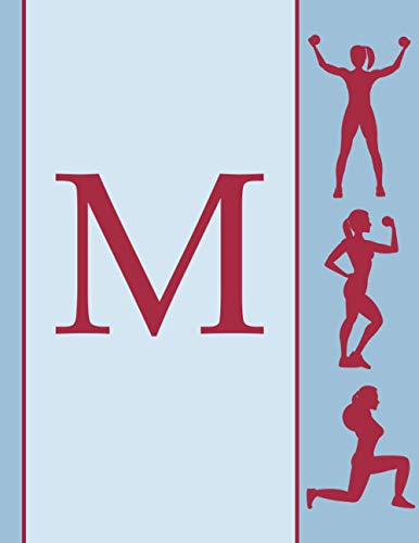M: fitness resistance training planner Initial Monogram Letter M workout planner   Track And Plan Your Meals and cardio   Gift for Girls and Women