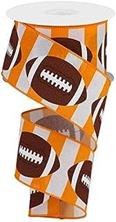 Football Striped Wired Ribbon - 10 Yards (Orange, White, 2.5