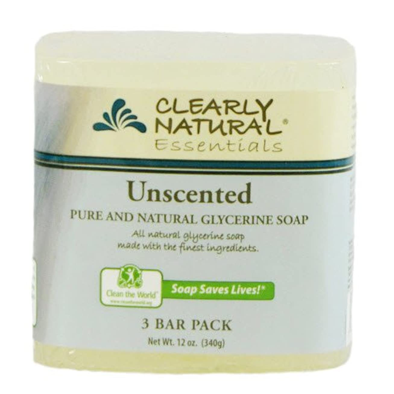 遷移崇拝します農業のClearly Natural, Pure and Natural Glycerine Soap, Unscented, 3 Bar Pack, 4 oz Each
