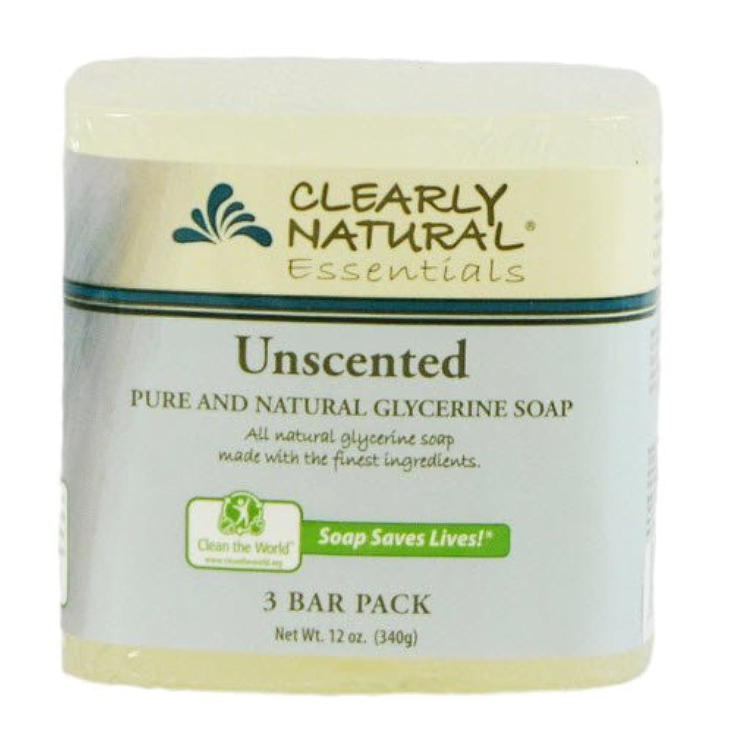 症状ジム感嘆符Clearly Natural, Pure and Natural Glycerine Soap, Unscented, 3 Bar Pack, 4 oz Each