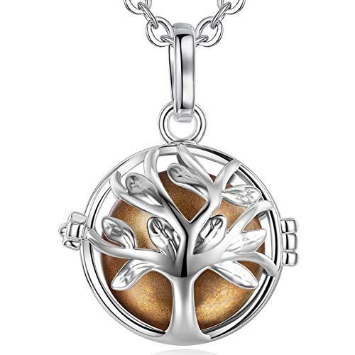EUDORA Harmony Ball Baum des Lebens Anhänger, Engel Anrufer Anhänger Halskette, Bola Klangkugel Kette Schmuck für Mädchen Mutter Tochter Frauen Lehrer Anker