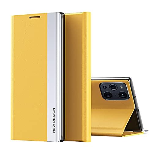 ESSTORE Funda para Huawei Mate 20 Lite (6.3''), suave PU piel Flip Cover con cierre magnético y soporte, amarillo