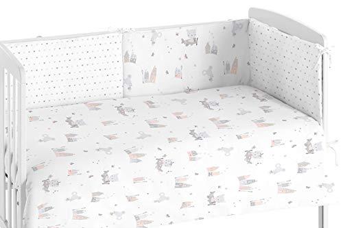 Burrito Blanco Edredón Cuna y Protector para Bebés 007 con Un diseño de Casitas con Graciosos Animales para Cuna de 60x120cm/Edredón Cuna + Chichonera, Colores Gris y Rosa