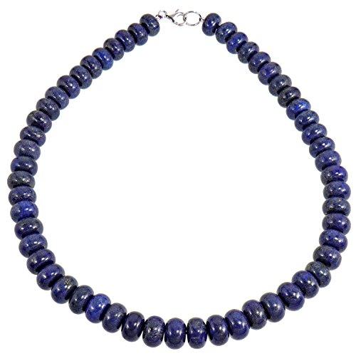 Yvesse Damen Collier Halskette 925/- Sterling Silber rhodiniert Lapislazuli Lapis Lazuli blau