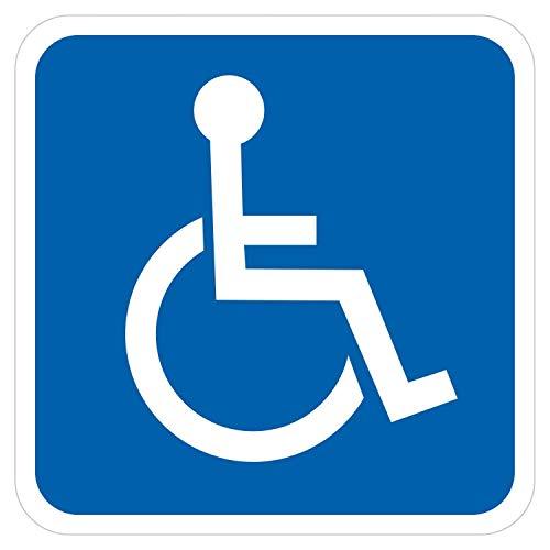 deformaze Sticker Rollstuhlfahrer Behinderten Aufkleber Warnaufkleber Selbstklebend KFZ Auto Scheibe UV Wetterfest Blau Weiß - Verschiedene Größen wählbar (10 x 10 cm)