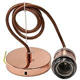 Soporte Lampara Techo 1M Cable Ajustable Metal Lamparas Techo Colgantes Apto Para Cocina Dormitorio Comedor-Rosa