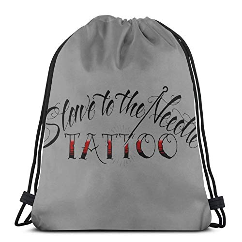 asdew987 Bolsas de cordón con cordón para esclavo a la aguja, tatuaje, unisex, mochila de deporte, bolsa de cuerda, bolsa grande con cordón, mochila de gimnasio a granel