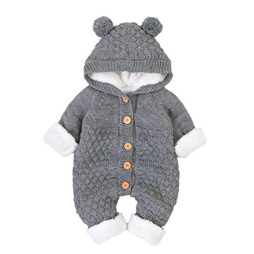 Haokaini Neugeborenes Baby Ohr Kapuze Gestrickte Strampler Overall Winter wärmer Schneeanzug für Jungen Mädchen (Grau, 18-24 Monate)