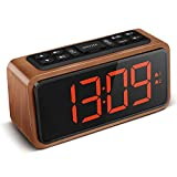 KOOSIN Radio Alarm Clock, Large LED Display Wood Digital FM Alarm Clock, Adjustable Brightness Dimmer and Snooze, Simple LED Clock with Dual Alarm, 12/24 Hour, Powered by AC Adapter