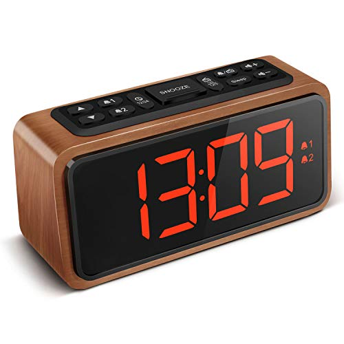 Radio Alarm Clock, Large LED Display Wood Digital FM Alarm Clock, Adjustable Brightness Dimmer and Snooze, Simple LED Clock with Dual Alarm, 12/24 Hour, Powered by AC Adapter (RED LED)