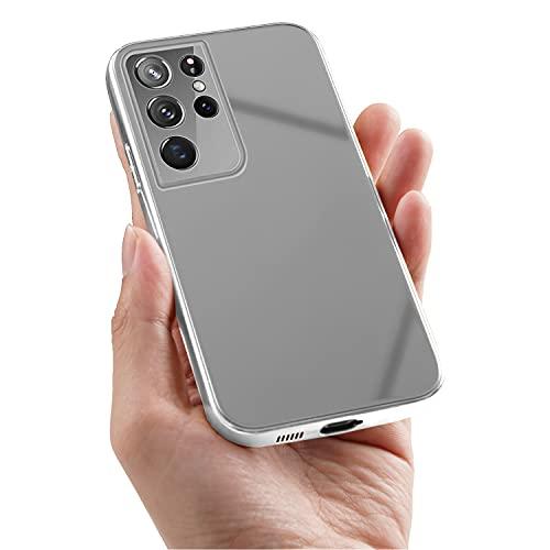 Samsung Galaxy S21 Ultra 5G Carcasa, Espejo Carcasa de teléfono móvil Espejo Maquillaje Carcasa Protectora Estuche rígido Delgado y Ligero Resistente a los rasguños Carcasa antirrayas 6.8 Pulgadas