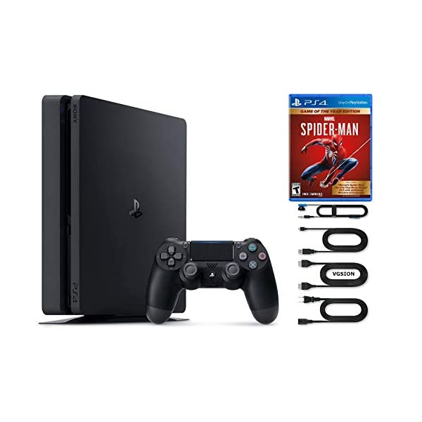 2020 Sony Playstation 4 1TB Slim Console Bundle with Marvel's Spider-Man: Game of The Year Disk Edition + VGSION HDMI Cable