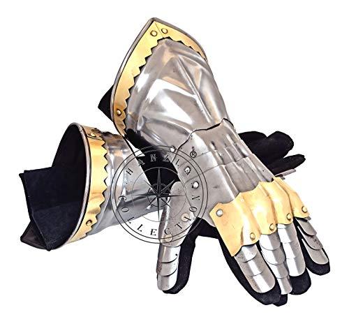 Hanzla Collection - Guanteletes de armadura de acero de hierro con detalles de latón