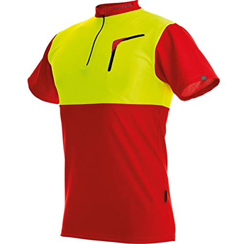 Pfanner Herren Zip-neck Shirt Short Sleeved Forst-Shirt mit Kurzarm, Mehrfarbig (Red-Neon Yellow), M