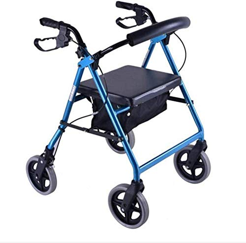 Ältere faltbaren Rollstuhl for Oma Opa GIF Folding Rollator Walker mit Sitz, Ältere Four Wheel Walkers, Abnehmbarer Rückenstütze Gepolsterte Sitz - Rolling Walker for Senioren Comfort Driven wheelch