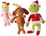 Aurora World Dr. Seuss Cindy Lou Who 12', Grinch Santa 19', & His Dog Max 18' Christmas Special Set of 3 Plush Toys, Multicolor