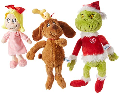 Aurora World Dr. Seuss Cindy Lou Who 12', Grinch Santa 19', & His Dog Max 18' Christmas Special Set of 3 Plush Toys, Multicolor