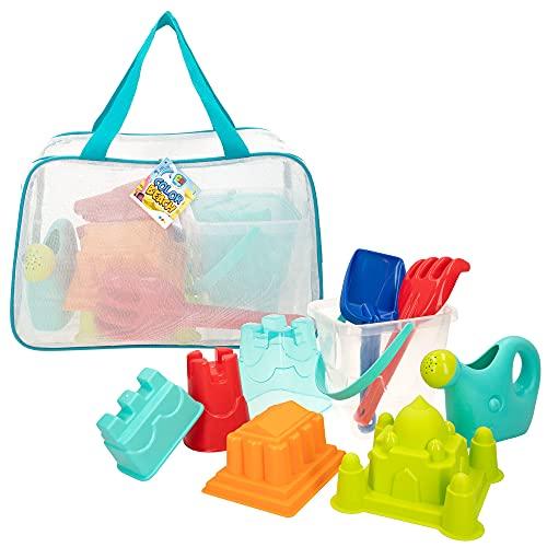 ColorBaby - Juguetes de playa para niños, juguetes arena, bolsa juguetes playa, cubo arena, diámetro 18 cm, cedazo, pala, rastrillo, regadera, moldes arena, +18mese (49272)