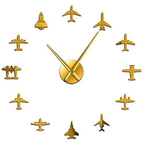 NOBRAND Flying Plane Fighter Jet Reloj de Pared Grande Moderno DIY Efecto de Espejo de acrílico Etiqueta Avión Silencioso Reloj de Pared Aviator Home Decor-3_37_Inch