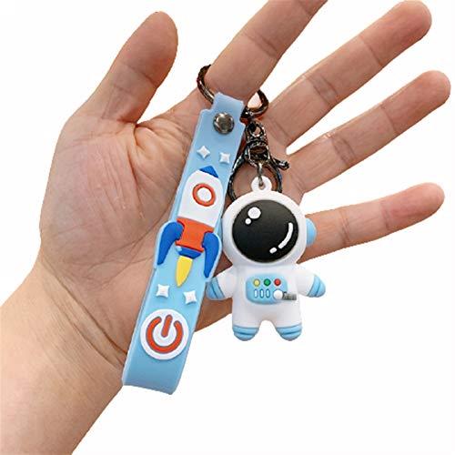 Neaer Key Chains Astronaut Cartoon Silicone Keychain Creative Bag Car Pendant Anime Key Ring Fashion Girl Couple Jewelry Cartoon keychain (Color : Blue)
