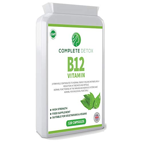 Vitamin B12 1000mcg - High Strength B12 Methylcobalamin – 120 Capsules - Contributes to The Reduction of Tiredness & Fatigue - Made in The UK by Complete Detox