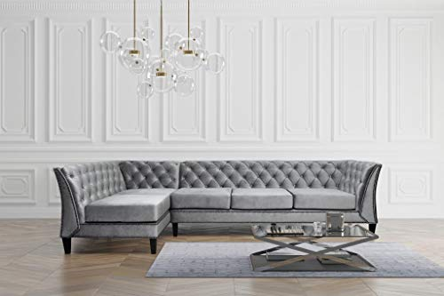 Chesterfield Sofa Ecksofa Grau Couch L-Form Mikrofaser Chester Garnitur Edel (Links)