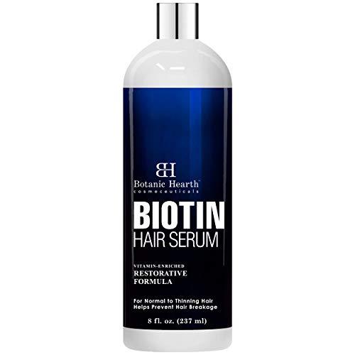 Botanic Hearth Biotin Hair Growth Serum - Restorative - Enriched with Biotin & Pro-Vitamin B5 to Help Hair Nourish & Strengthen - Promotes Thicker, Healthy Looking Hair - for Men & Women - 8 fl oz