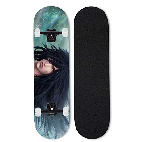 Totots Skateboard para Uchiha Madara, Naruto Anime Siete-Capa Skateboard, patineta de Cuatro Ruedas con Doble inclinación, Tablero de Deportes Extremos al Aire Libre, patineta para Adultos monopatín,