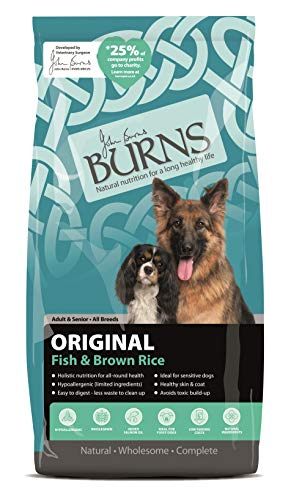 Burns Pet Nutrition Hypoallergenic Complete Dry Dog Food Adult and Senior Dog Original Fish and Brown Rice 12 kg