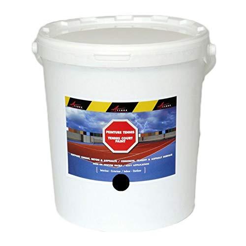 Arcatenis - Vernice per campo da tennis in cemento poroso, colore linea ristrutturazione antiscivolo, palestra Arcatenis, 15 kg fino a 30 m2 per 2 strati, colore: Nero
