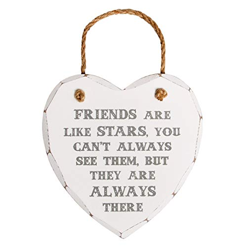 Friends Are Like Stars Shabby Chic Heart Hanging Plaque