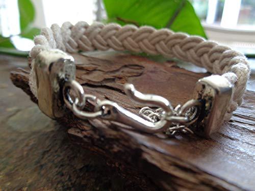 ✿ SEGELTAU FLACH GEFLOCHTENES ARMBAND ✿ natur Armband unisex, Männerarmband