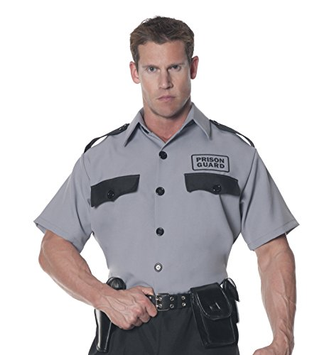 Underwraps Men's Prison Guard Shirt, Grey/Black, One Size