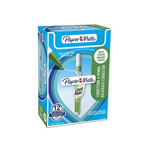 Papermate NP10 - Corrector líquido tipo bolígrafo Verde, Color blanco,  12 unidades