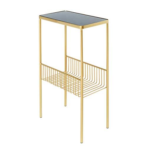 Kronleuchter Nordic Simple estantería de Hierro Forjado Revistero Europeo Dormitorio Sala de Estar Estante de Almacenamiento de Piso Soporte de exhibición 40cmX70cmX20cm (Color : Gold)