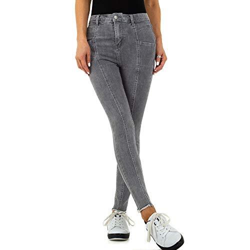 Ital Design Damen HIGH Waist Skinny Jeans Redial Denim Paris Gr. S/36 Grau