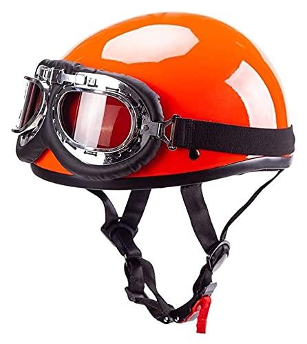 YCRCTC Casco de motocicleta DOT/ECE certificado estilo alemán casco de seguridad facial Chopper Cruiser cascos de bicicleta + gafas