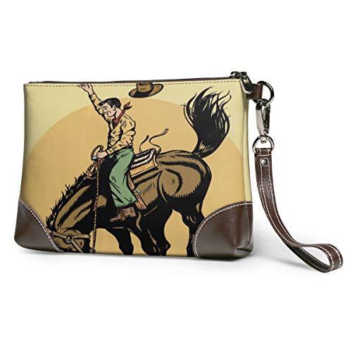 Echt lederen portemonnees voor vrouwen Rits Rond Polsband Lange portemonnee Vintage Embossing Koeienhuid Capaciteit Handgemaakte Koppeling Rodeo Cowboy Rijpaard