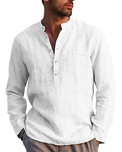 LVCBL Herren-Hemd mit V-Ausschnitt Normal Geschnittenes Hemd mit Stehkragen Party Weiß XL
