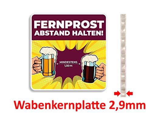 KaiserstuhlCard Fernprost Abstand halten Bierdeckel Schild 10 cm x 10 cm Comic wiederverwendbar Schutz Hinweis waschbar Hotel Gaststätte Warnschild Warnhinweis Tisch Tür Fenster (10)